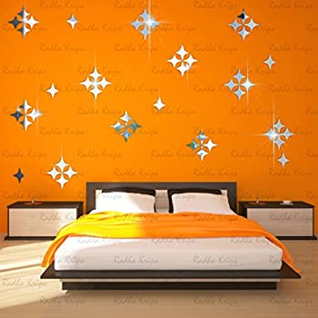 3D DeCor Acrylic Mirror wall stickers - sTar 50 Silver - 3D Acrylic Sticker 3D Mirror 3D Acrylic Wall sticker 3D Acrylic stickers for wall 3D Acrylic Mirror stickers 3D Acrylic mural for Drawing room living room bedroom kids room home & offices