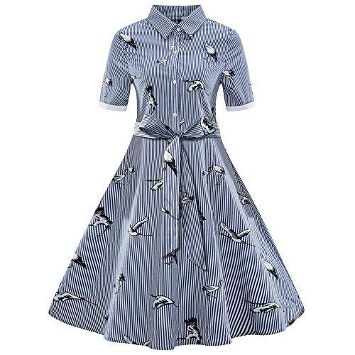 Hunde Business Kostüm - Amphia - Kurzärmliges Vintage-Kleid im Hepburn-Stil, Gestreifter Gürtel, großer Swingrock, Frauen Plus Size Printed Streifen Vintage Gürtel Verband Shirt Swing Dress(Blau,S)
