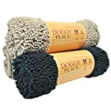 """My Doggy Place Fußmatte, sehr saugfähig, Mikrofaser, strapazierfähig, schnelltrocknend, waschbar, verhindert Schmutz, hält Ihr Haus sauber (Größen: M, L, XL), Large (36"""" x 26""""), Hellgrau"""