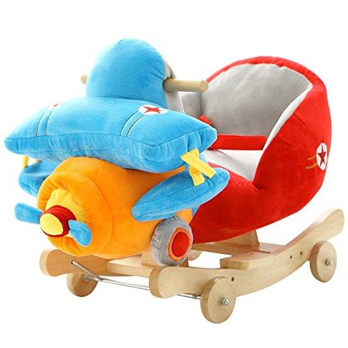 Qxmei seggiolone per bambini a dondolo in legno massiccio per bambini da 1 a 4 anni