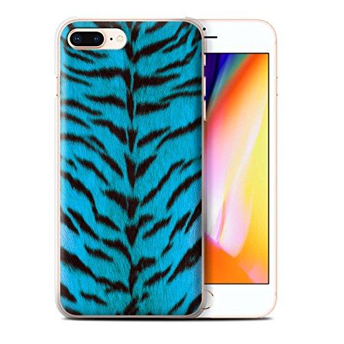 Stuff4 Hülle / Case für Apple iPhone 8 Plus / Grün Muster / Tiger Tier Haut/Print Kollektion Blau