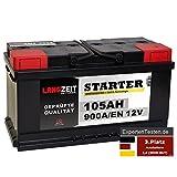 LANGZEIT Starter Serie 12V 44Ah - 105Ah Autobatterie Starterbatterie, KFZ PKW Batterie (105Ah)
