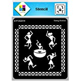 SWAGSTATION Warli Art Stencils for Craft - Warli Stencil - 6x6 Inches - Reusable DIY Stencils for Painting on Clothes - Warli