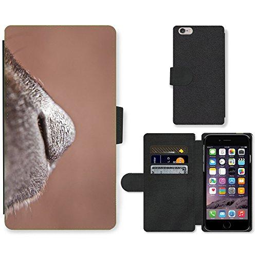 Just Mobile pour Hot Style Téléphone portable étui portefeuille en cuir PU avec fente pour carte//m00138597Nez pour chien Museau Animal Mignon Fermeture//Apple iPhone 6Plus 14cm