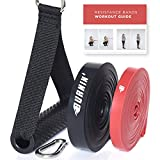 Burnin Widerstandsbänder- 2 Klimmzug Bands Set +Tasche+Türanker/Handgriffen und Übungsanleitung Fitnessbänder, Fitness, Exercise, Booty Gymnastik Bands für Krafttraining,Download PDF