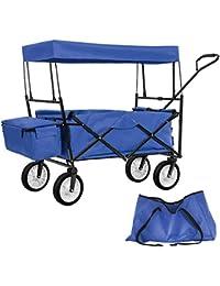 TecTake Chariot pliable avec toit amovible charrette de transport à tirer main - diverses couleurs au choix - (Bleu | No. 402316)