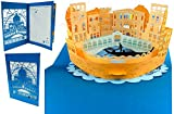 """'Lin, 3D pop up carte vacances """"Italie, Voyage Bon d'achat chèque cadeau Villes Trip Cartes de vœux Voyage Bon Anniversaire Cartes Italie Venise, N716..."""