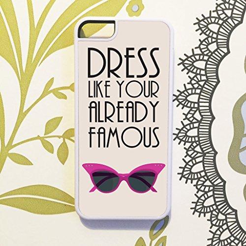 Olive & Maybelle Retro Brille Kleid wie berühmten Celebrity Chic Handy Schutzhülle für iPhone 5C–IN WEIß (20w Kleid)
