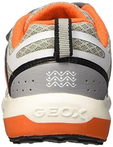 Geox J Asteroid B, Baskets Basses Garçon Multicolore (Gris/Orange)