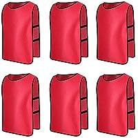 6 X Senston Sport pinnies adulti Rissa di formazione Gilet Calcio Pettorali Rosso e 3 Dimensioni
