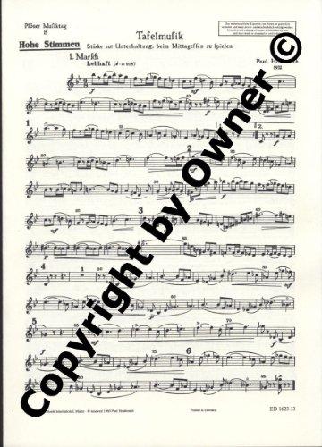 Plöner Musiktag: B Tafelmusik. Flöte, Trompete oder Klarinette und Streicher (hoch, mittel, tief). hohes Instrument.
