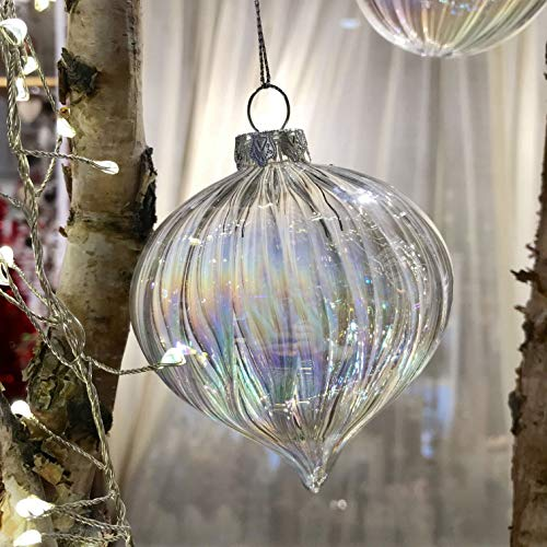 Valery madelyn 4 pezzi christmas baubles set 8cm vetro traslucido iridescente grande ornamento di natale decorazioni albero di natale ornamenti per l'albero di natale per natale decorare