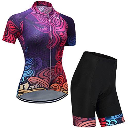 GWELL Damen Blumen Radtrikot Fahrradbekleidung Set Trikot Kurzarm + Radhose mit Sitzpolster Violett L