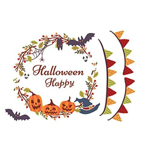 Emorias 1PCS Wandaufkleber Fensteraufkleber Banner Kranz Mauerdekor Wandsticker Aufkleber Halloween Dekoration