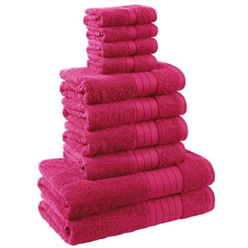 Dreamscene Luxus Handtuch Weich Bale Geschenk-Set, Baumwolle, pink, 10-tlg. (Schwarze Handtücher Aus ägyptischer Baumwolle)