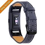 Mornex For Fitbit Charge 2 Bandes de remplacement, bracelet en cuir véritable classique avec des connecteurs en métal, bracelet de fitness pour Charge 2, Gunmetal