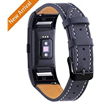 Hotodeal New Release For Fitbit Charge 2 Strap Replacement Bands, Classic Genuine Leather Wristband with Metal Connectors, Fitness Strap for Women Men, Small Large