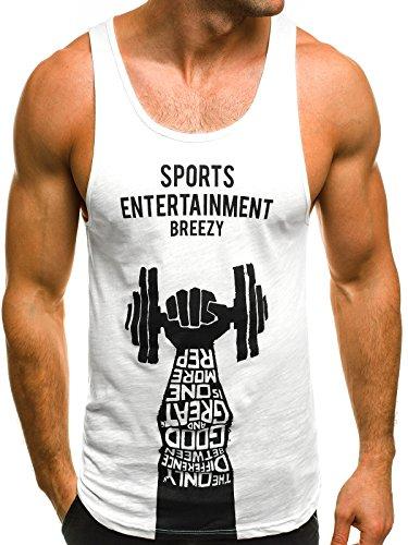 OZONEE Mix Herren Tanktop Tank Top Tankshirt T-Shirt Print Unterhemden Ärmellos Weste Muskelshirt Fitness B/181114 Weiß L (Shirt Weißes Ärmelloses Tank-top)