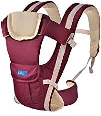 BabyGo Soft 4-in-1 Baby Carrier with Comfortable Head Support and Buckle Straps (Maroon/Red)