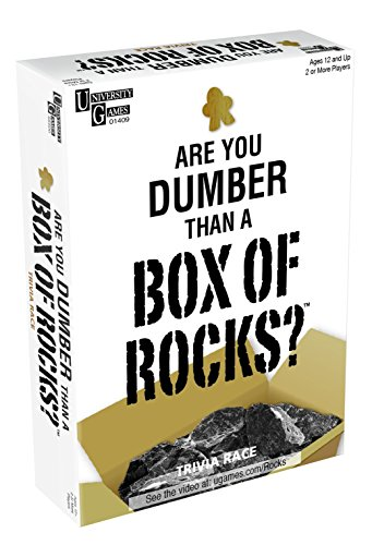 University Games 1490 Are You Dumber Than A Box of Rocks Trivia Game, Color Blanco