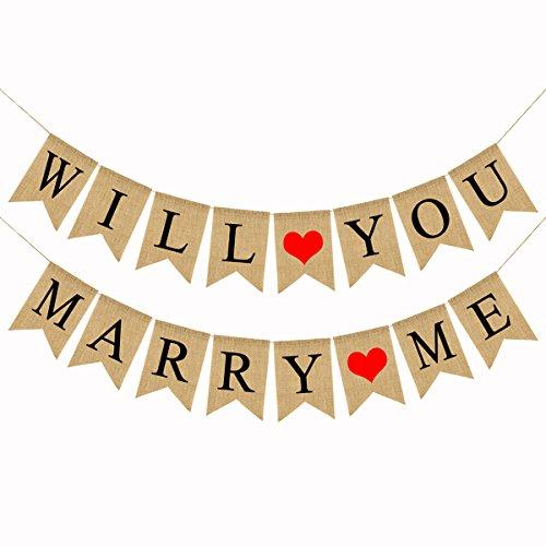 Amosfun Willst Du Mich Heiraten Banner Bunting für Heiratsantrag, Hochzeit Dekoration