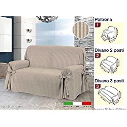 Centesimo Web Shop COPRIDIVANO Laccetti in 3 Misure E 2 Colori Tessuto Jacquard Tinto Filo A Righe Copri Divano - Tre posti Beige