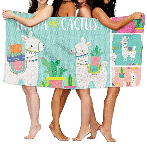 sd4r5y3hg Bath Towel Microfiber BAGT, Unisex Llama and Cactus Beach Towels Washcloths Bath Towels
