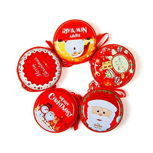 Nouveau style cadeau de Noël pour enfant mini sac de pièce, sac d'écouteur, sac de bijoux de collier, 5PCS