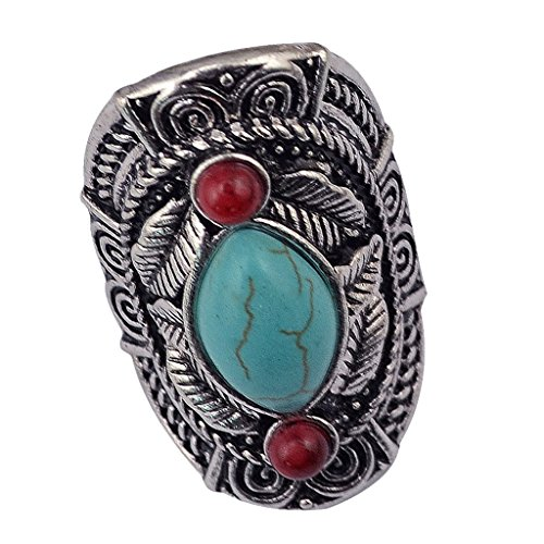 MagiDeal 1 Stück Türkis Ring Einstellbar Leaf Finger Unisex Ring Vintage Bohemian Stil