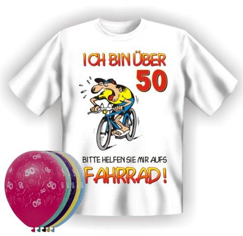 T-Shirt Fun Shirt Ich bin über 50 bitte helfen sie mir aufs Fahrrad Größe XL zum 50. Geburtstag + 5 Luftballons, lustige Geschenke