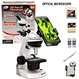 CFtrum Kids Student Microscope Kit with Universal Smartphone Adaptor for Capturing Pictures, 3 Magnifications 60x 120x 200x, Includes 42 Pieces Accessory, Top Pick of Microscopes For Beginners