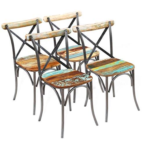 vidaXL Sillas de comedor madera maciza de acacia 51x52x84 cm 4 unidades