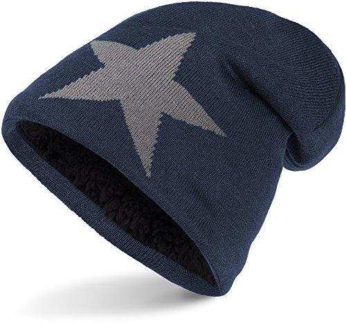 Warme Feinstrick Beanie Mütze mit Stern sehr weichem Innenfutter, Unisex (Dark Blue (Grey Star))