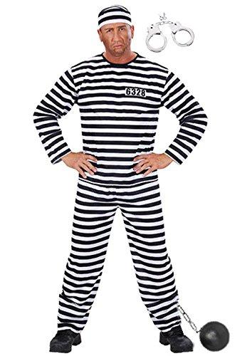 Sträfling Kostüm - Komplett Kostüm Sträfling: Hose Hemd Kappe Fußkugel Handschellen Herren Sträflingskostüm Knasti Gr. L Junggesellenabschied