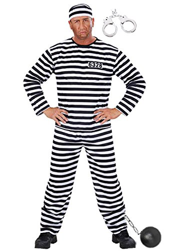 Sträfling Kostüm Gefängnis Sträflingskostüm Gefangener Knasti Herren Gr. L komplett mit Hose Hemd Kappe Fußkugel Handschellen Junggesellenabschied