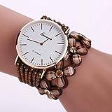 Hunpta Mode Freizeit Damen Quarz Armbanduhr Kristall-Diamant-Armbanduhr (Braun)
