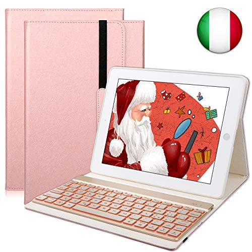 SENGBIRCH Custodia Protettiva per iPad 2/3/4, Cover Protettiva Slim Fit con Tastiera Bluetooth Wireless Staccabile per iPad 2/3/4 (Oro Rosa)
