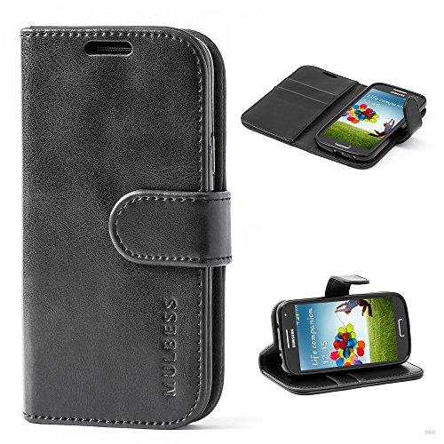 Mulbess (Vintage bookstyle) Premium Handy Schutzhülle Ledertasche im Kartenfach für Samsung Galaxy S4 Mini (4,3 Zoll) Tasche Hülle Leder Etui Schale,Schwarz