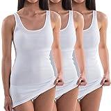 HERMKO 1317 3er Pack Damen Unterhemd extralang; längeres Achselhemd (+10cm), Farbe:weiß, Größe:40/42 (M)