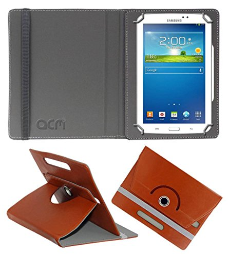 Acm Rotating Leather Flip Case for Samsung Galaxy Tab 3 Sm T211 Tablet Cover Stand Brown  available at amazon for Rs.149