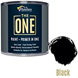 The One, vernice multi superficie, basta una mano, per legno, metallo, plastica, per interni, esterni, colore nero opaco, 250 ml