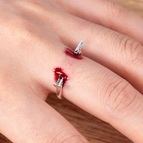 Yinew Kreative Halloween Nagel Öffnung Ring Mode Einfachen Ring Gefälschte Blutung Ring (Mädchen Bei Blutungen)