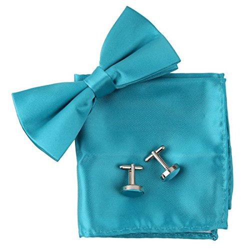 BT2028 Cyan Plain Inspirierende Geschenke Idea Silk Vorgebundenen Bowtie Manschettenknopf Hanky ??Set Club Bowties Von (Halloween Club Party Ideen)