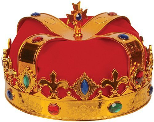 Loftus International Deluxe Royal Jewel Encrusted King Crown, Gold/Red, One Size by Loftus International -