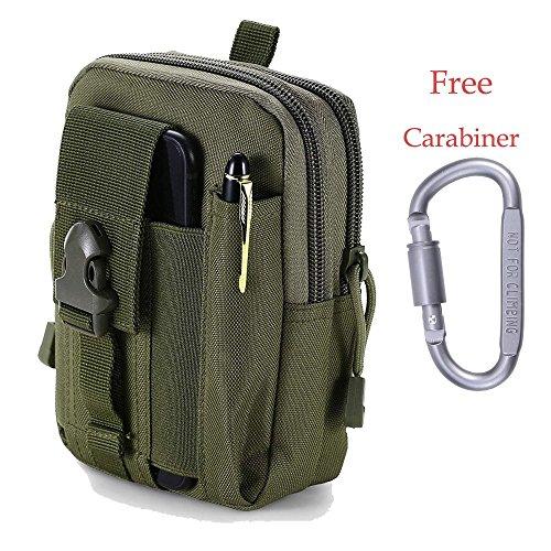 Hipier Multifunktions Taktische Hüfttaschen Molle EDC Tasche Gürtel Handy Outdoor Tactical Beutel Utility Pouch klein mit Aluminiumkarabiner (Grün) -