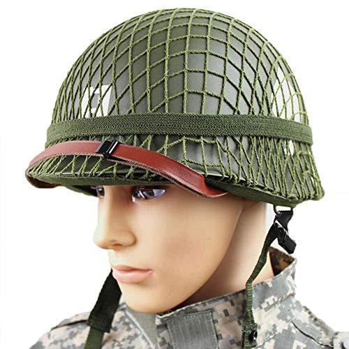 HGFLYF Retro Version WWII US Military Stahl M1 Grün Helm Replik mit Net/Leinwand Kinnriemen DIY Malerei (Grün)