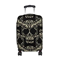 MyDaily Floral Skulls Luggage Cover Fits 18-32 inch Suitcase Spandex Travel Protector
