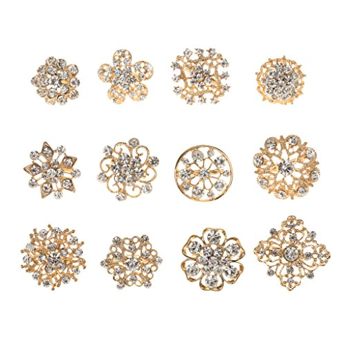 12st Blumenform Vergoldet Strass Goldene Broschen Klein