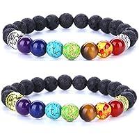 linsh 8mm Lava Rock 7Chakren Perlen Heilung Balance Energie Yoga Buddha Armbänder ätherisches Öl Diffusor preisvergleich bei billige-tabletten.eu