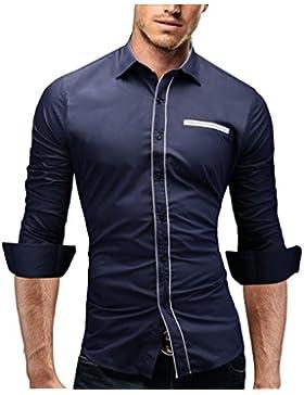[Sponsorizzato]Merish Camicia Uomo Slim Fit,manica lunga, adatto per tutte le occasioni,casual e chic, design alla moda, bicolori...